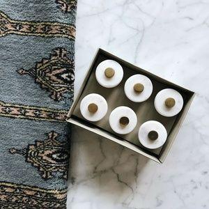 Set of 6 Genuine Stone + Brass Drawer Pulls/Knobs